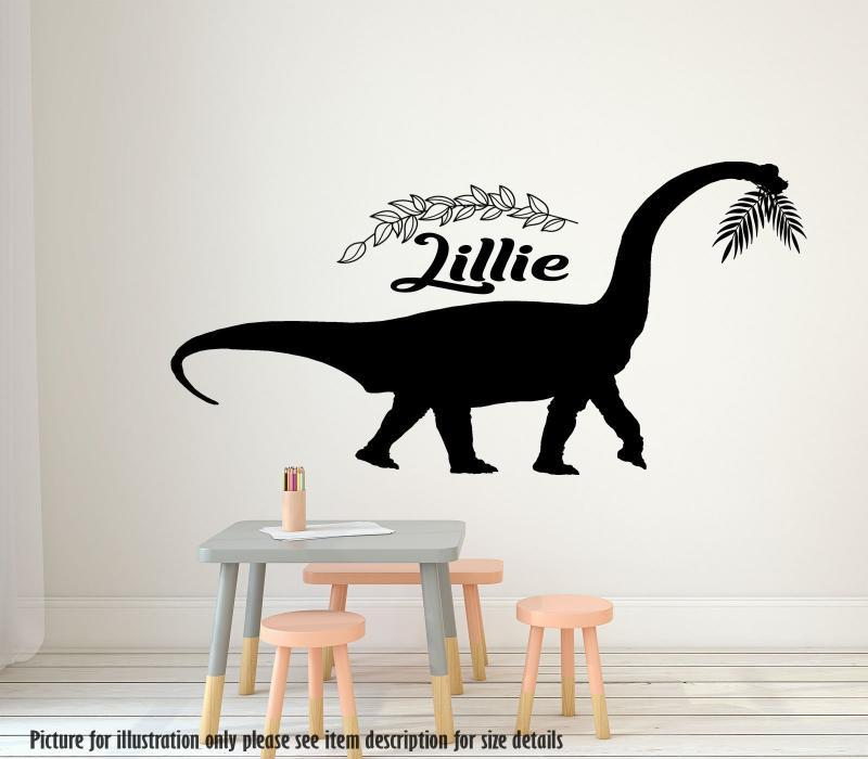 Diplodocus Dinosaur Wall Sticker Dino Wall Decal Personalised name Children Kids Nursery Vinyl Wall Art Sticker Bedroom Playroom Art