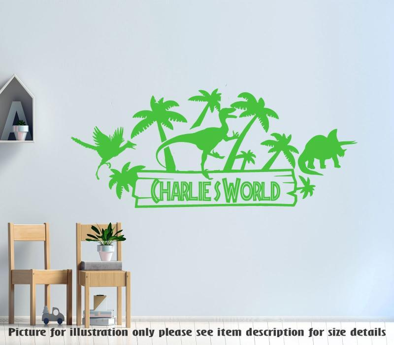 Jurassic World Theme Personalised Name Nursery Vinyl Wall Art Sticker Dinosaur Wall Sticker Dino Wall Decal Children Kids Bedroom Decor Wall Decor Home Living Home Decor
