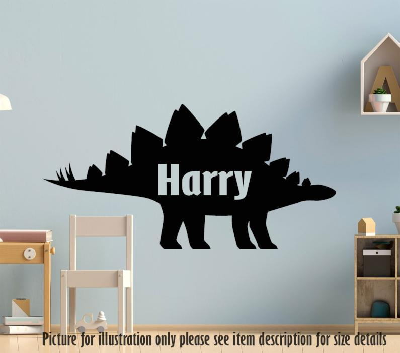 Stegosaurus Dinosaur Wall Sticker, Personalised Name Dino Wall Decal, Playroom Decor, Jurassic world Nursery Vinyl Wall Art Sticker