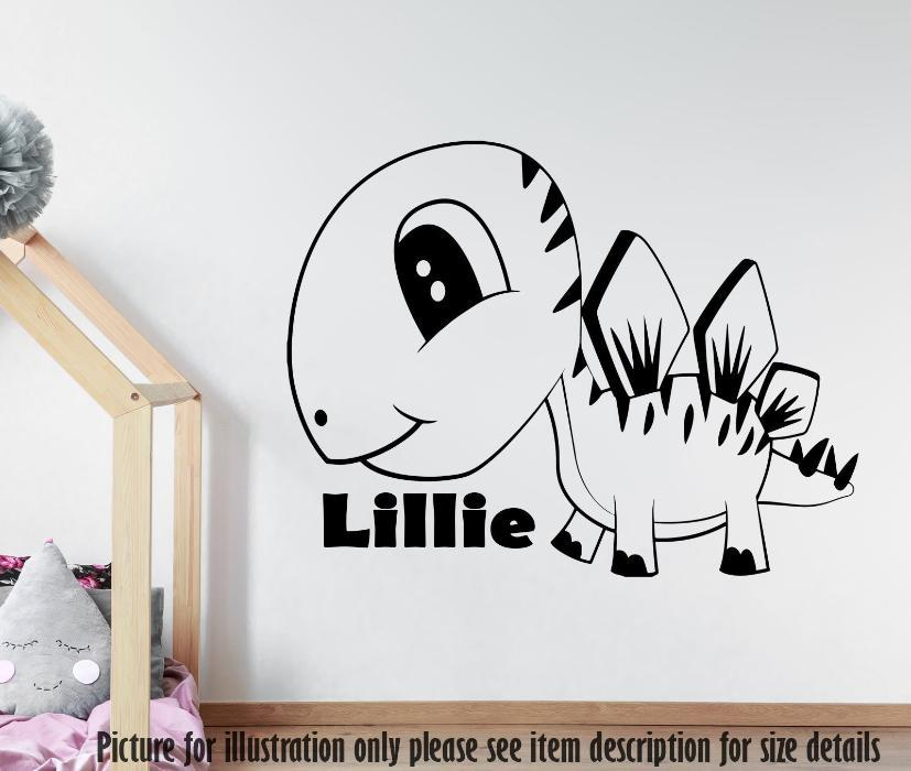Stegosaurus Dinosaur Wall Sticker, Personalised Name Dino Wall Decal, Playroom Kid's Room Decor, Jurassic world Nursery Vinyl Sticker