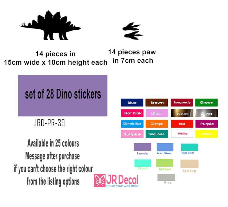 Diplodocus Dinosaur Wall Sticker, Dino Paw Set Wall Decal, Playroom Kid's Room Decor, Jurassic world Nursery Vinyl Sticker
