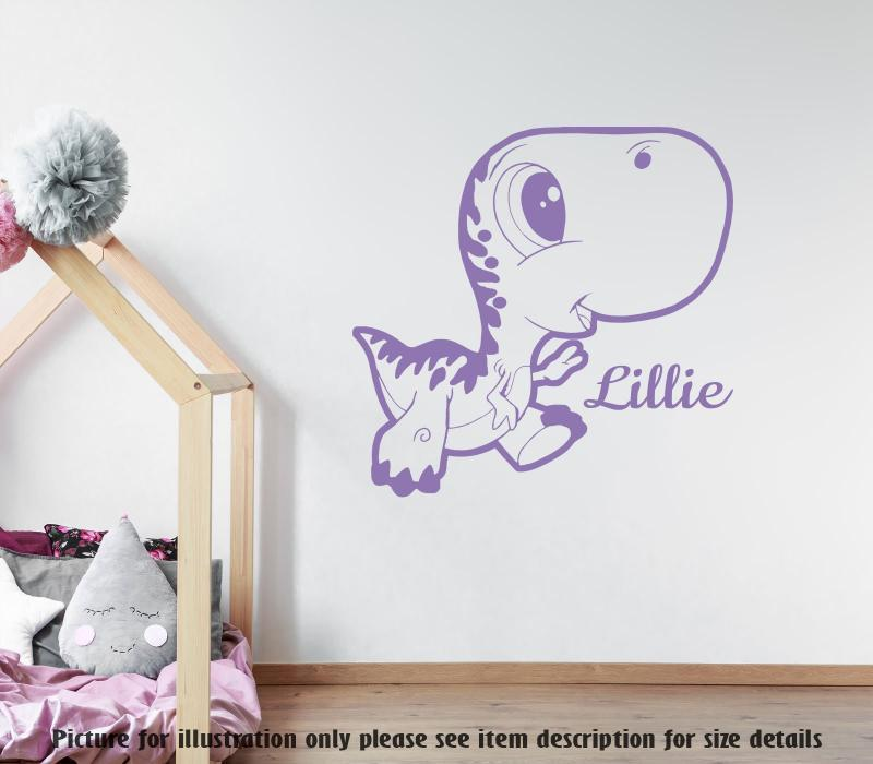 Cute T-Rex Dinosaur wall art, Personalised name sticker, Kid wall art