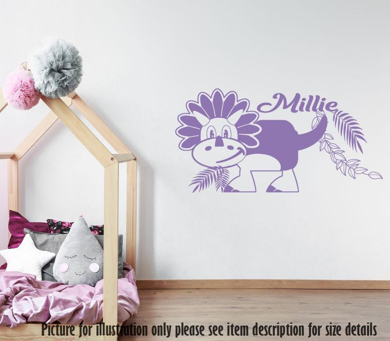 Personalised Name Dino Wall Decal, Triceratops Dinosaur Wall Sticker, Playroom Kid's Room Decor, Jurassic world theme wall stickers