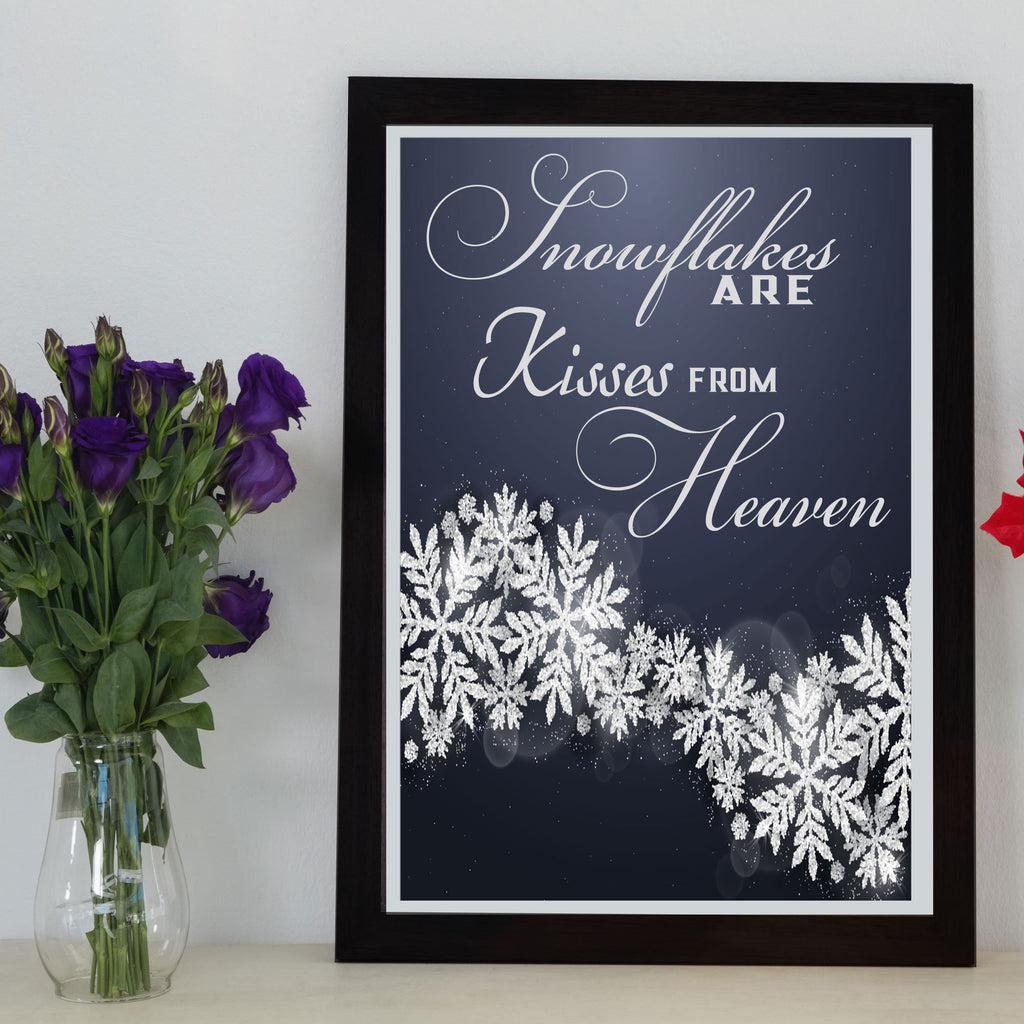 Kisses from Heaven- Romantic quote framed wall art
