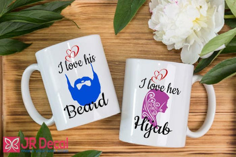 I love his Beard and I love her Hijab - Muslim couple mug set - Islamic mugs