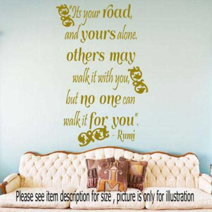 Its Your Road Jalaluddin Rumi Quote Vinyl Wall Stickers Jr Decal