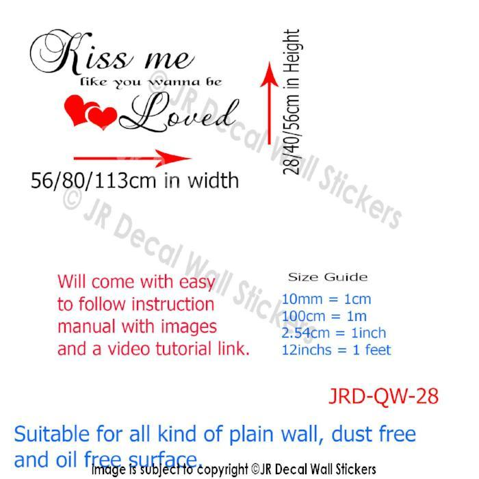 Kiss Me Like you wanna be Loved Wall Decals
