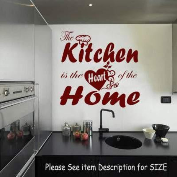 """The Kitchen Is The Heart Of The Home"" Vinyl Stickers JRD20"
