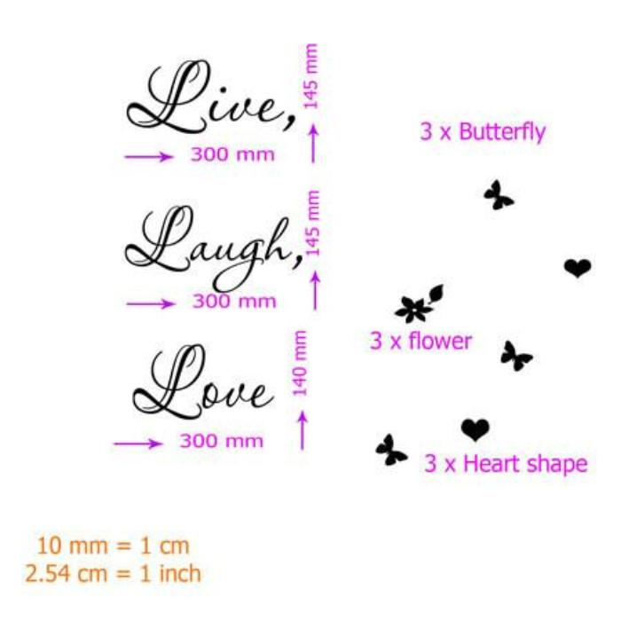 ... Live Laugh Love Wall Quote Stickers Removable Vinyl Decal