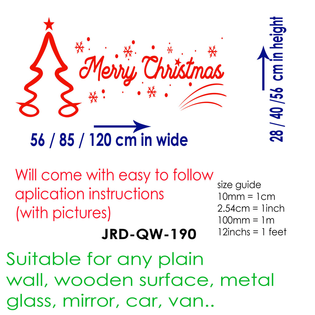 """Merry Christmas"" written Christmas wall sticker"