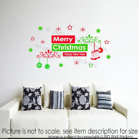 Merry Christmas Happy New Year vinyl Sticker JRD-SE-8