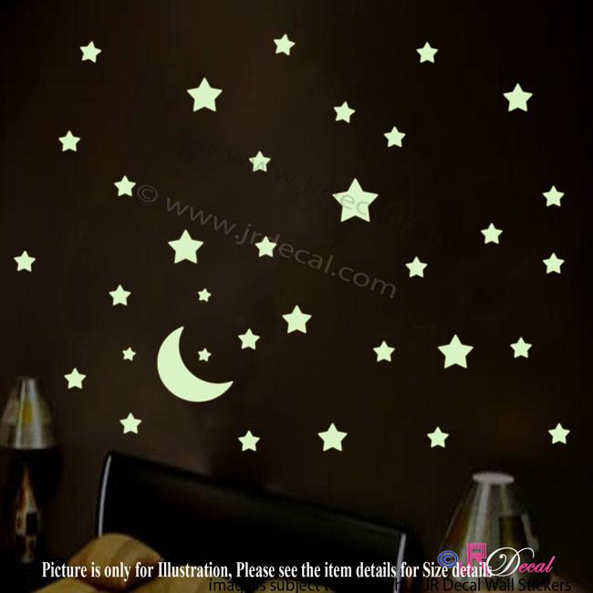 Glow In The Dark Stars Moon Wall Stickers 45 Pieces Part 74