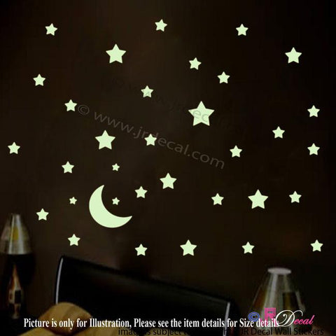 Glow in the Dark Stars Moon Wall Stickers 45 pieces