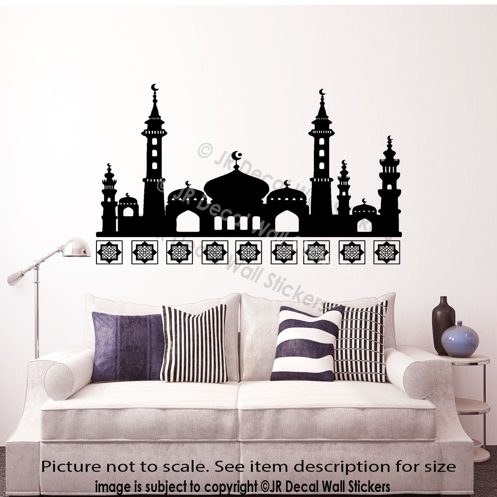 Islamic Wall Art Stickers Mosque Shape Arabic Patterns Art Decals Home Decor  JRD QV