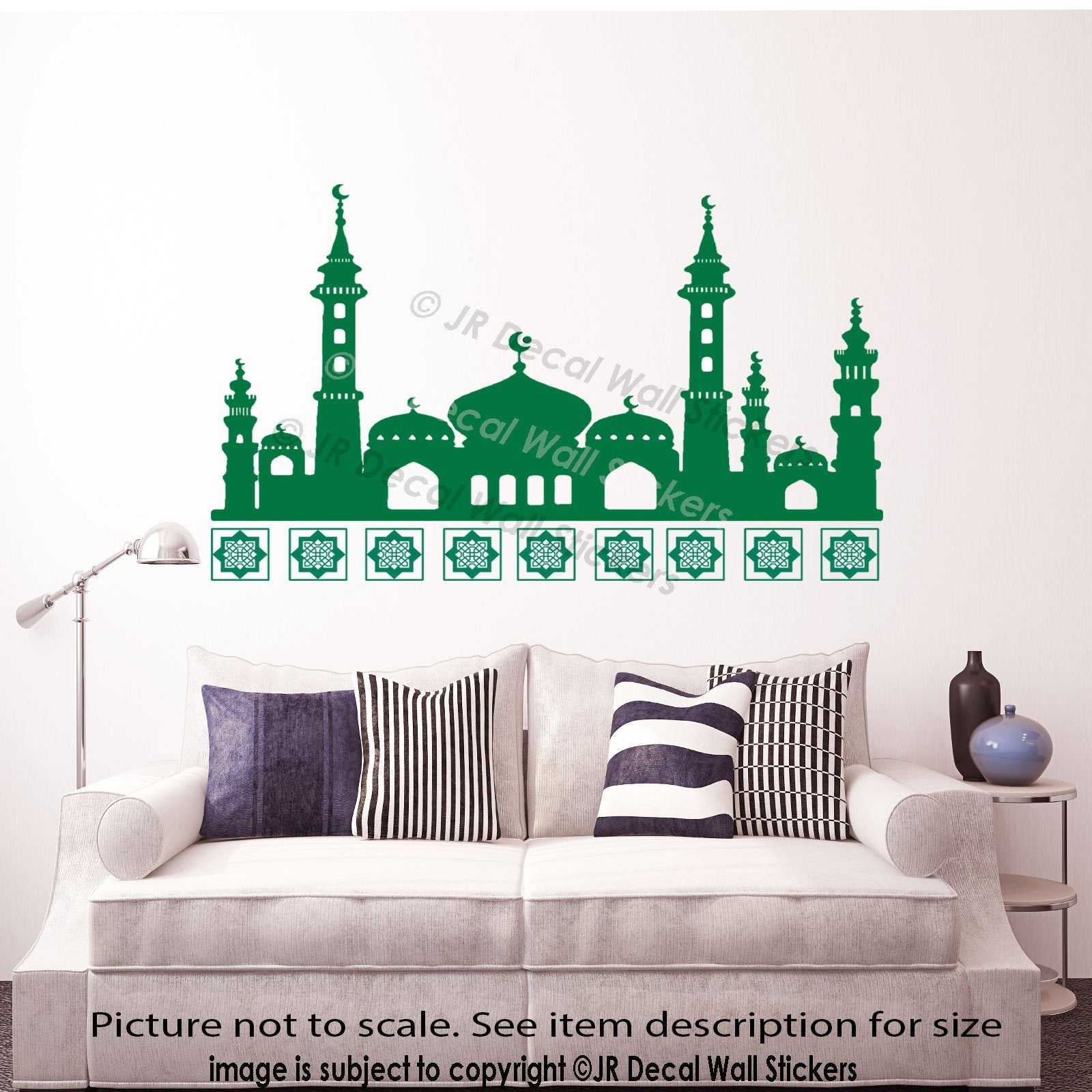 Islamic wall art sticker mosque shape arabic vinyl wall for Islamic home decorations