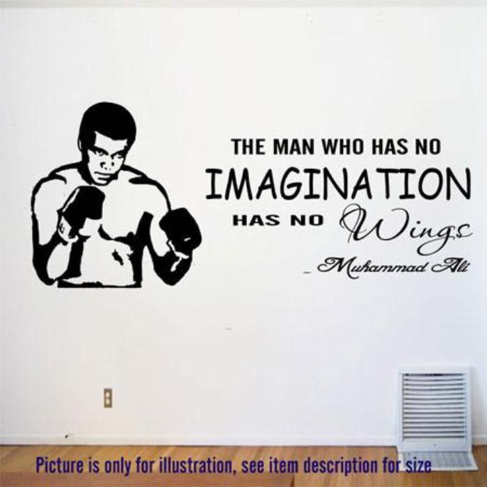 """No Imagination, No Wings""- MUHAMMAD ALI's Motivational quote wall art"