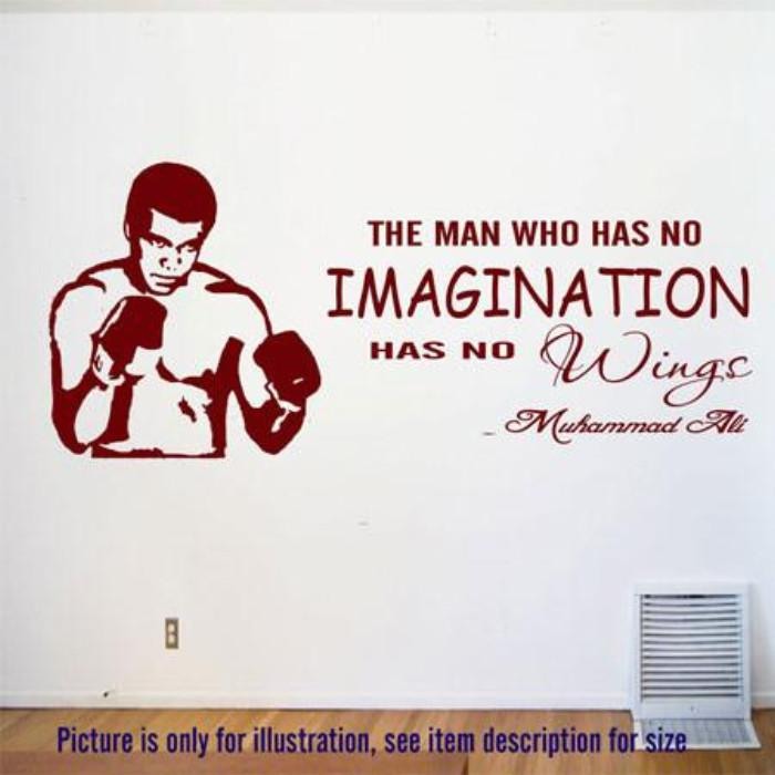 """No Imagination, No Wings""- MUHAMMAD ALI's Motivational quotes wall stickers"