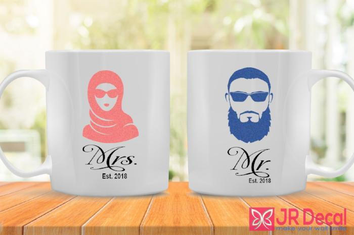 Mr and Mrs coffee Mug for couple with personalised year 2