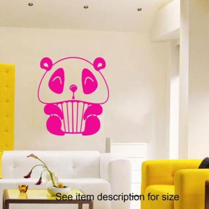 Panda Cup Cake Vinyl Wall Decals Stickers