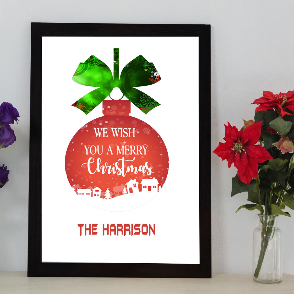 Merry Christmas Ball Frame wall art with Family Name