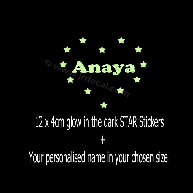 Glow in the Dark Custom Name Personalized Wall Stickers