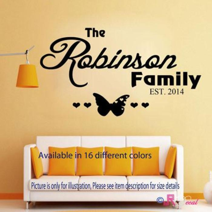 Family name personalised quote wall art stickers