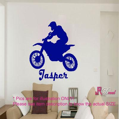 Motorcycle wall art Personalised name sticker