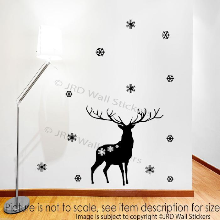 Merry Christmas Reindeer Wall Decals