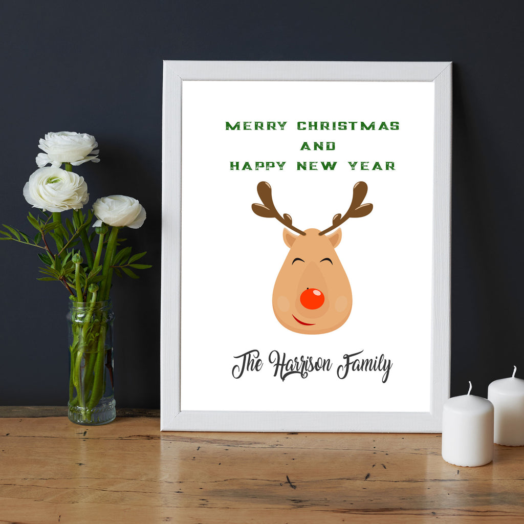 Reindeer Merry Christmas Picture Frame with Family Name