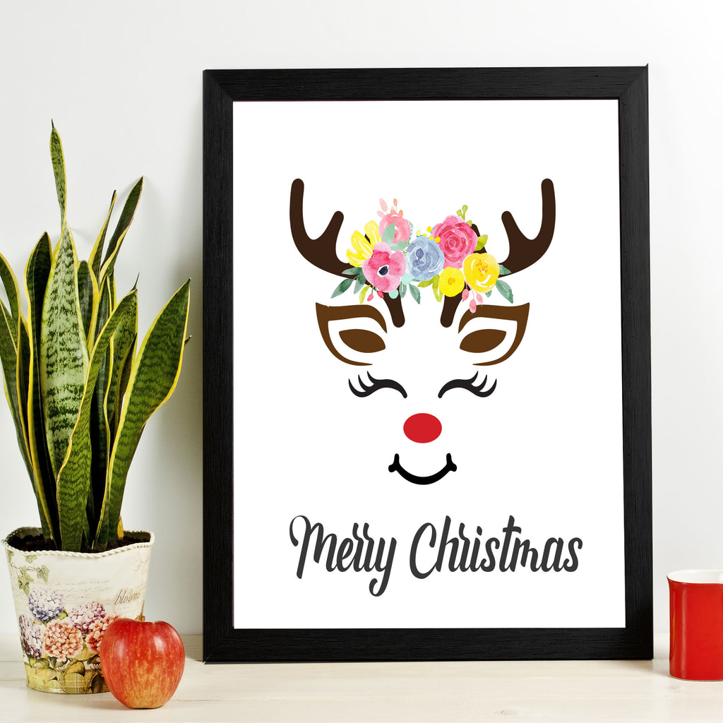 Reindeer Face Merry Christmas Picture Frame
