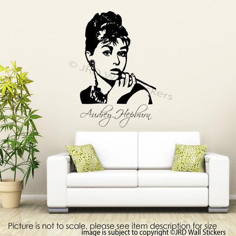 Large AUDREY HEPBURN Wall Art Sticker JRD-CB-10