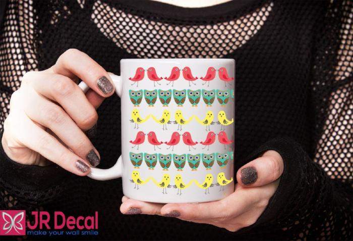Bird shaped pattern colourful Printed Mug D17