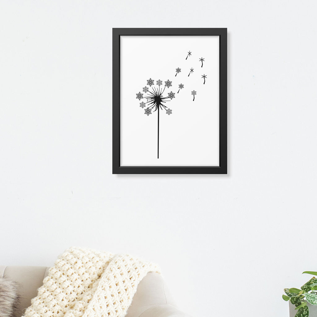 Dandelion with Snowflakes Printed Picture Frame