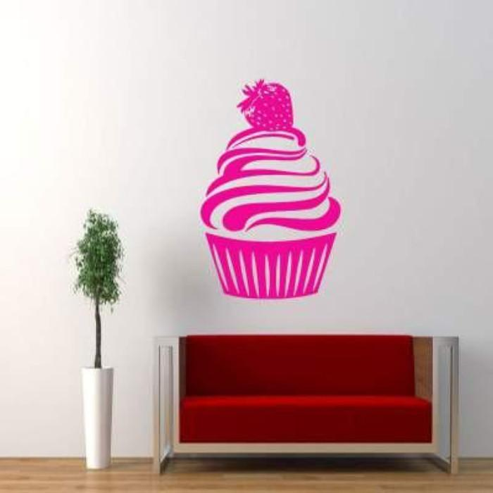 Large Strawberry Cupcake wall stickers