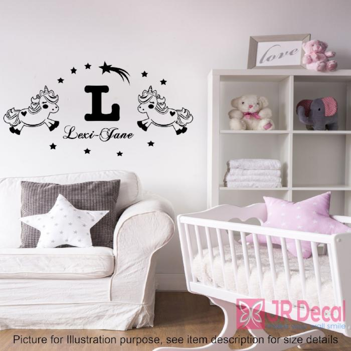 2 Standing Unicorn Stickers with Personalised name Stickers
