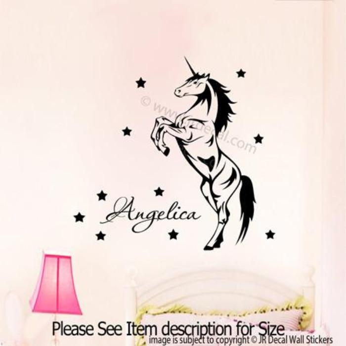 Unicorn Wall Art with Personalised Name Sticker