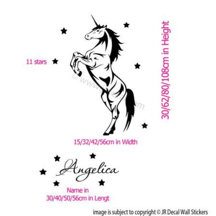 Unicorn Horse Wall Stickers Your Kid's Name Removable Vinyl Wall Decal