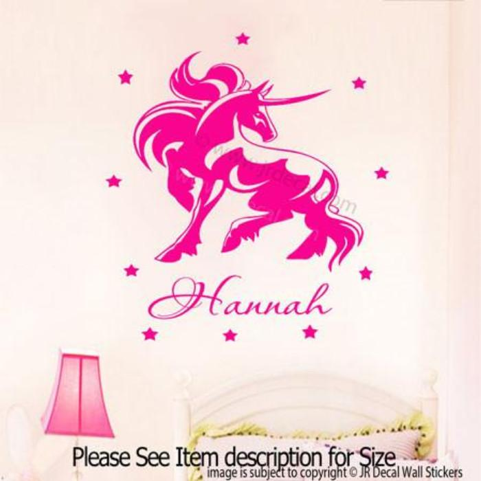 ... Unicorn Horse Wall Stickers Your Kidu0027s Name Removable Vinyl Wall Decal  ... Part 95
