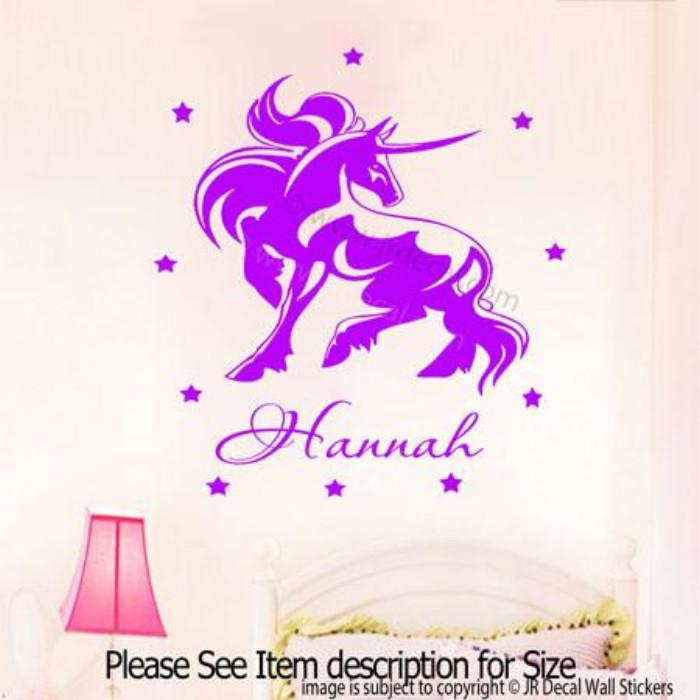 unicorn horse kid's name removable vinyl wall decal – jr decal wall