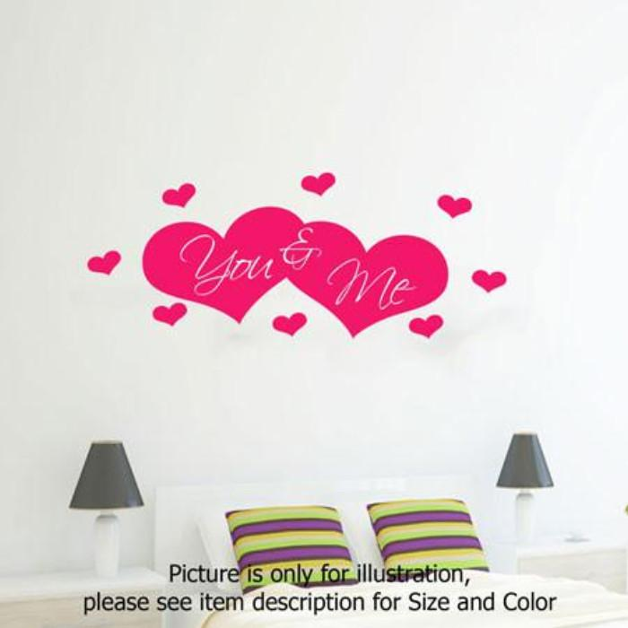 You and Me love heart shape Bedroom Wall vinyl stickers