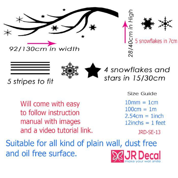 Removable Wall Art Sticker Snowflakes Tree Branch