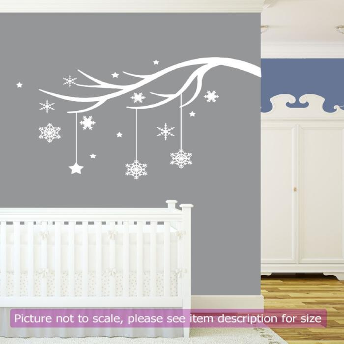 Snowflakes Tree Branch Vinyl Removable Wall Art Sticker