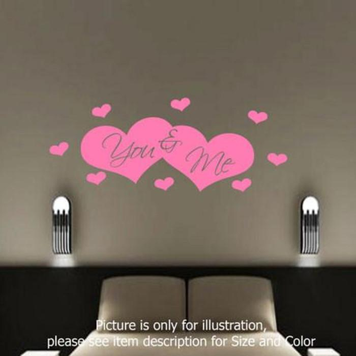 You and Me love heart shape Bedroom stickers romantic Quote