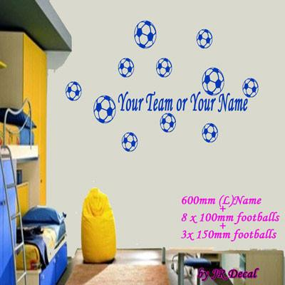 Custom Team Name Multi Football Wall Stickers JRD1