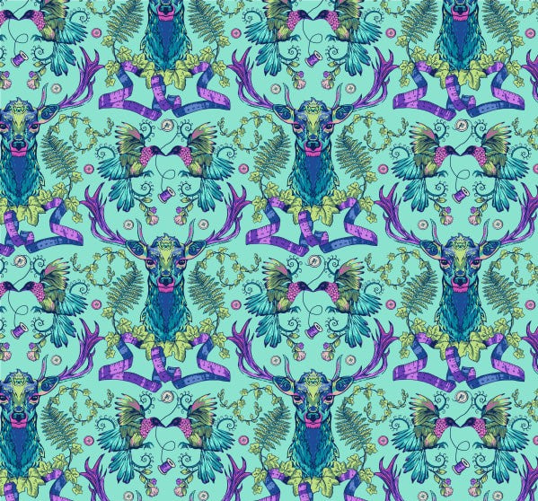 Deer Ridge Turquoise Multi - Stag and Thistle - by Brett Lewis for Northcott Cotton Fabric