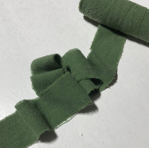Hand Dyed Moss Green 100% Silk Noil Ribbon ( 3 Widths to choose from)
