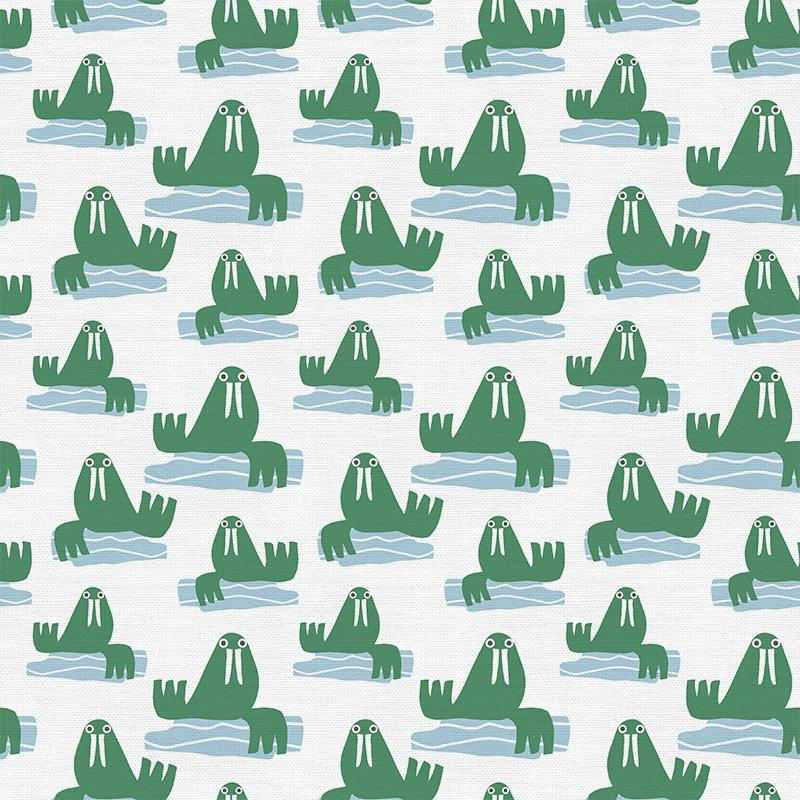 Walruses on White - Animal Kingdom - By Jessica Nielsen for Paintbrush Studio 100% Cotton Fabric