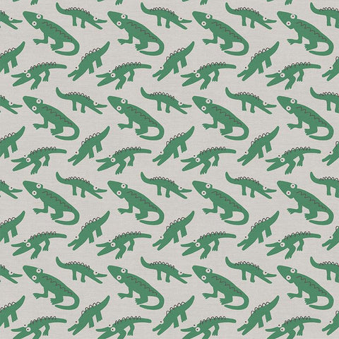 Alligators on Gray - Animal Kingdom - By Jessica Nielsen for Paintbrush Studio 100% Cotton Fabric