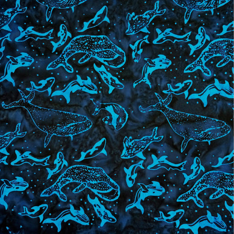 Afina Blue Whales Explorer - Batik by Mirah Cotton Fabric