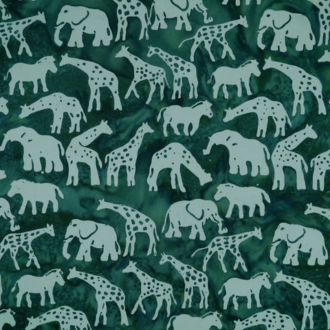 African Animals Creme de Menthe Green - Silver Moon - Batik by Mirah Cotton Fabric